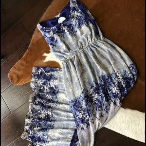 Floral blue and white maxi dress